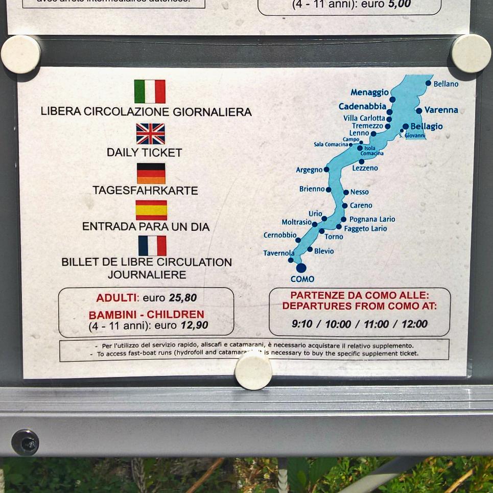 Озеро Комо - расписание