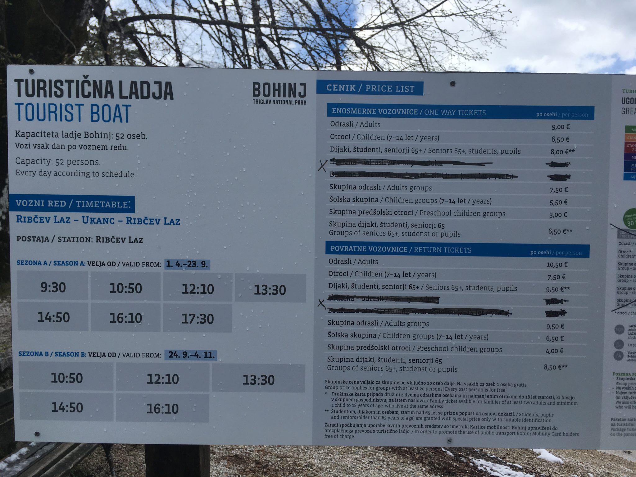 Расписание и цены на лодочные прогулки на озере Бохинь, Словения