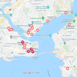 Инстаграмные места Стамбула - карта